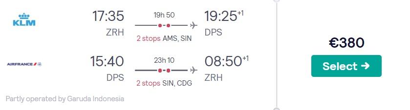 cheap flights zurich bali