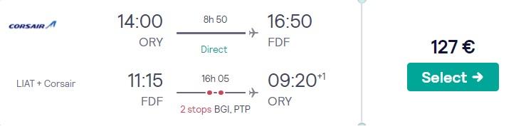 cheap flights paris martinique