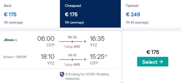 cheap flights bucharest toronto canada